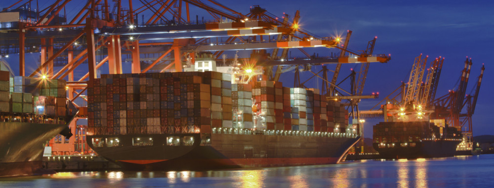 Container Ship at Port at Night